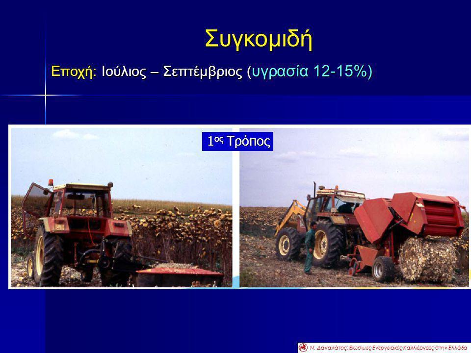 Συγκομιδή Εποχή: Ιούλιος – Σεπτέμβριος ( υγρασία 12-15%) 1 ος Τρόπος Ν. Δαναλάτος: Βιώσιμες Ενεργειακές Καλλιέργειες στην Ελλάδα