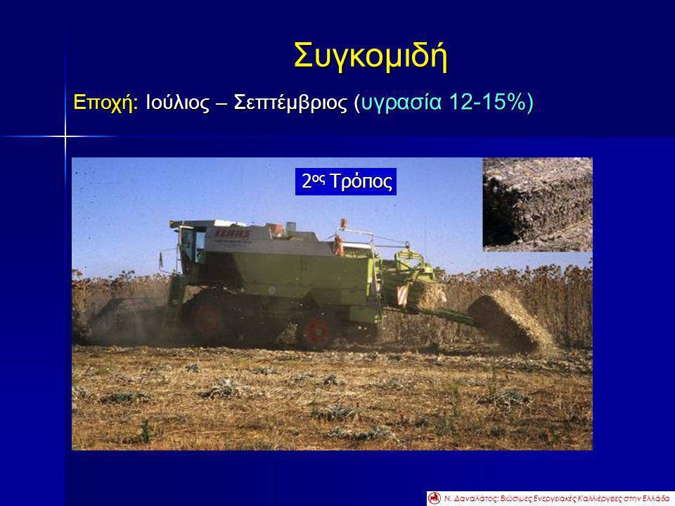 Συγκομιδή Εποχή: Ιούλιος – Σεπτέμβριος ( υγρασία 12-15%) 2 ος Τρόπος Ν. Δαναλάτος: Βιώσιμες Ενεργειακές Καλλιέργειες στην Ελλάδα