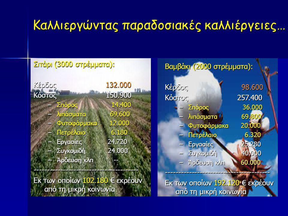 Σιτάρι (3000 στρέμματα): Κέρδος 132.000 Κόστος 150.900 –Σπόρος 14.400 –λιπάσματα 69.600 –Φυτοφάρμακα 12.000 –Πετρέλαιο 6.180 –Εργασίες 24.720 –Συγκομι