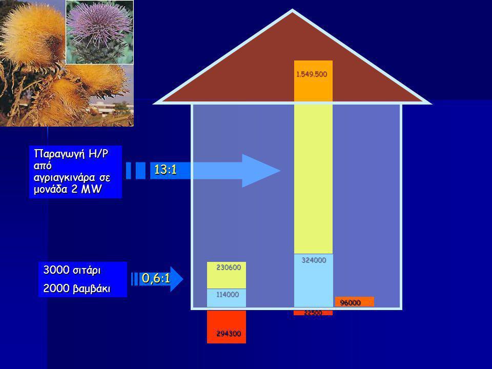 3000 σιτάρι 2000 βαμβάκι 230600 294300 114000 0,6:1 Παραγωγή Η/Ρ από αγριαγκινάρα σε μονάδα 2 MW 1.549.500 22500 324000 13:1 96000