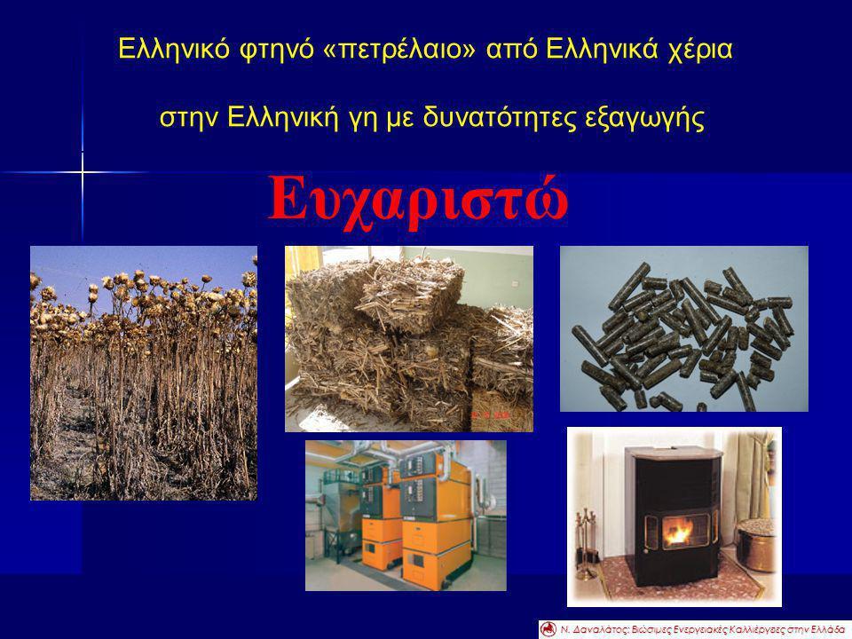 Ελληνικό φτηνό «πετρέλαιο» από Ελληνικά χέρια στην Ελληνική γη με δυνατότητες εξαγωγής Ευχαριστώ Ν. Δαναλάτος: Βιώσιμες Ενεργειακές Καλλιέργειες στην