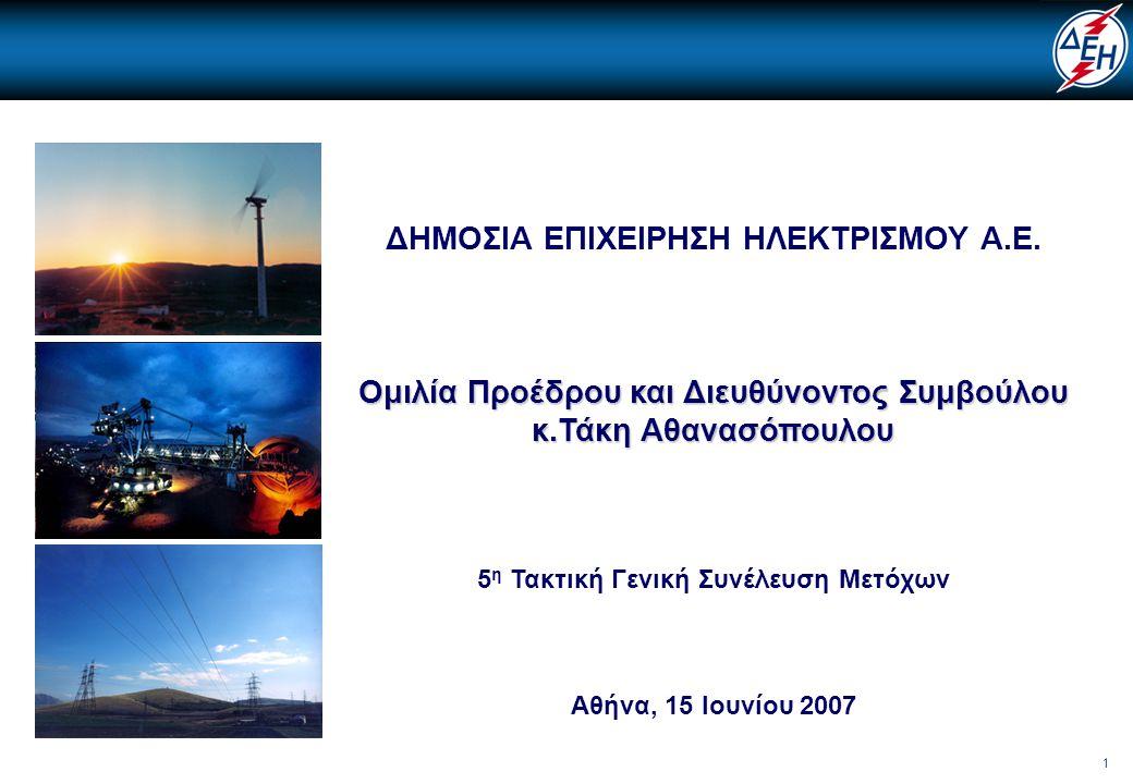 22 • Παραγωγικό δυναμικό αποτελούμενο από ανταγωνιστικές και περιβαλλοντικά βιώσιμες μονάδες •Προσδιορισμός του νέου ρόλου της ΔΕΗ στην απελευθερωμένη αγορά ενέργειας Στρατηγική Ρυθμιστικού Πλαισίου Μείωση κόστους Στρατηγική Παραγωγής Νέες πηγές εσόδων Εταιρική Κουλτούρα / Διακυβέρνηση Βασικές Προτεραιότητες : 2007 – 2012 – 2017