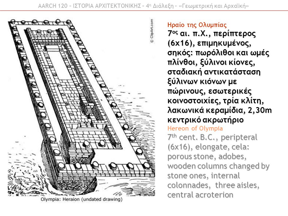 AARCH 120 – ΙΣΤΟΡΙΑ ΑΡΧΙΤΕΚΤΟΝΙΚΗΣ – 4 η Διάλεξη – «Γεωμετρική και Αρχαϊκή» Ηραίο της Ολυμπίας 7 ος αι. π.Χ., περίπτερος (6x16), επιμηκυμένος, σηκός: