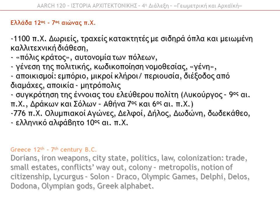 Ελλάδα 12 ος – 7 ος αιώνας π.Χ. -1100 π.Χ. Δωριείς, τραχείς κατακτητές με σιδηρά όπλα και μειωμένη καλλιτεχνική διάθεση, - «πόλις κράτος», αυτονομία τ
