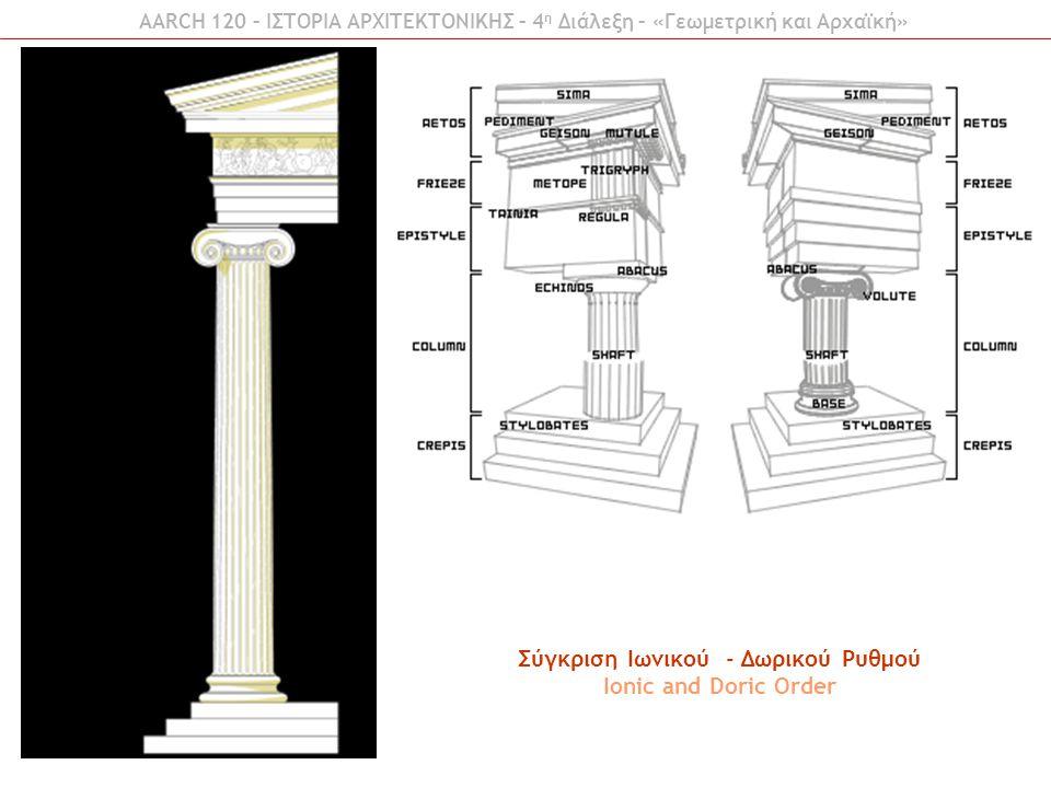 AARCH 120 – ΙΣΤΟΡΙΑ ΑΡΧΙΤΕΚΤΟΝΙΚΗΣ – 4 η Διάλεξη – «Γεωμετρική και Αρχαϊκή» Σύγκριση Ιωνικού - Δωρικού Ρυθμού Ionic and Doric Order