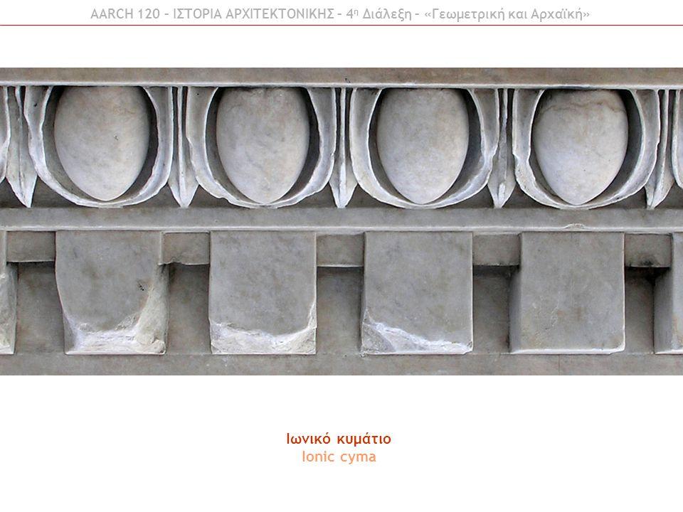 AARCH 120 – ΙΣΤΟΡΙΑ ΑΡΧΙΤΕΚΤΟΝΙΚΗΣ – 4 η Διάλεξη – «Γεωμετρική και Αρχαϊκή» Ιωνικό κυμάτιο Ionic cyma