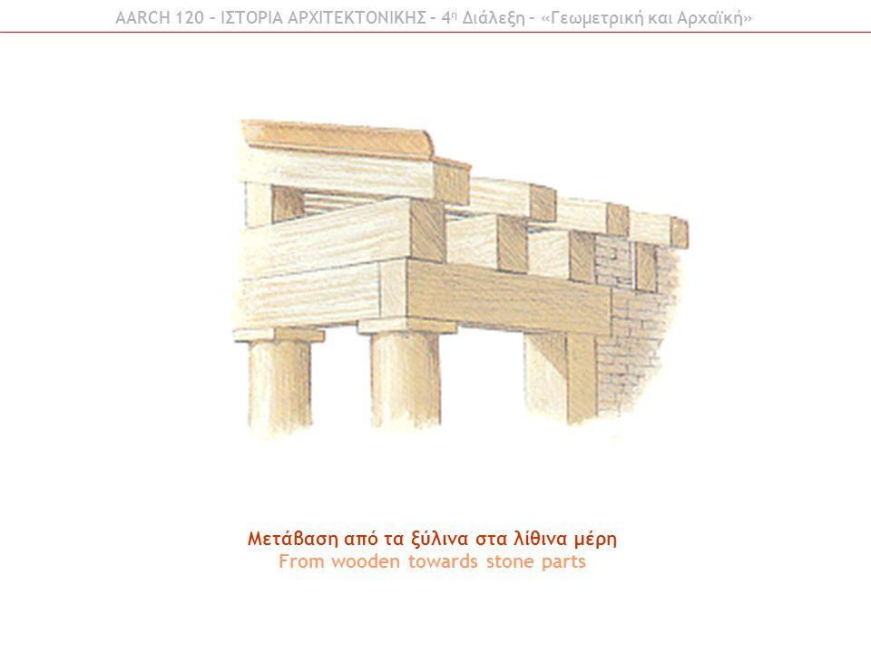 Μετάβαση από τα ξύλινα στα λίθινα μέρη From wooden towards stone parts AARCH 120 – ΙΣΤΟΡΙΑ ΑΡΧΙΤΕΚΤΟΝΙΚΗΣ – 4 η Διάλεξη – «Γεωμετρική και Αρχαϊκή»