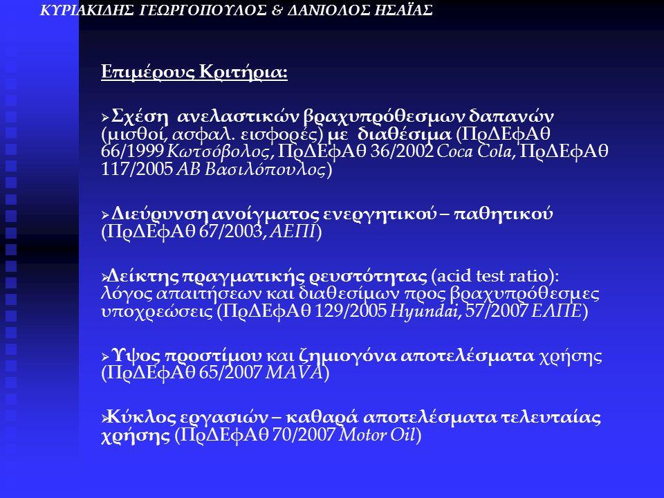 Επιμέρους Κριτήρια:   Σχέση ανελαστικών βραχυπρόθεσμων δαπανών (μισθοί, ασφαλ. εισφορές) με διαθέσιμα (ΠρΔΕφΑθ 66/1999 Κωτσόβολος, ΠρΔΕφΑθ 36/2002 C