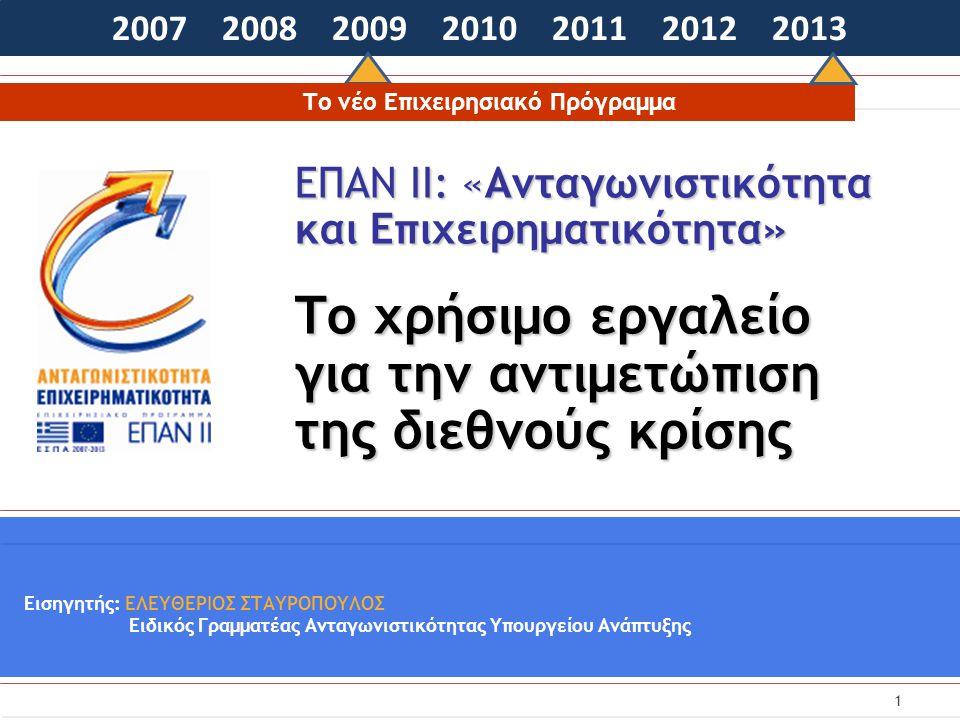 1 ΕΠΑΝ ΙΙ: «Ανταγωνιστικότητα και Επιχειρηματικότητα» Το χρήσιμο εργαλείο για την αντιμετώπιση της διεθνούς κρίσης 2007 2008 2009 2010 2011 2012 2013 Εισηγητής: ΕΛΕΥΘΕΡΙΟΣ ΣΤΑΥΡΟΠΟΥΛΟΣ Ειδικός Γραμματέας Ανταγωνιστικότητας Υπουργείου Ανάπτυξης Το νέο Επιχειρησιακό Πρόγραμμα
