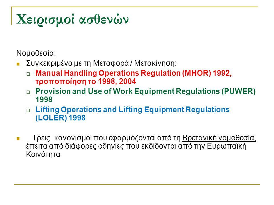 Χειρισμοί ασθενών Νομοθεσία:  Συγκεκριμένα με τη Mεταφορά / Mετακίνηση:  Manual Handling Operations Regulation (MHOR) 1992, τροποποίηση το 1998, 200