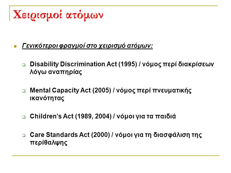 Χειρισμοί ατόμων  Γενικότεροι φραγμοί στο χειρισμό ατόμων:  Disability Discrimination Act (1995) / νόμος περί διακρίσεων λόγω αναπηρίας  Mental Cap