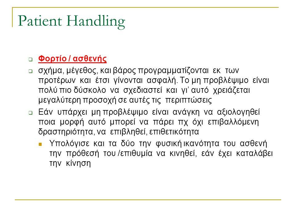 Patient Handling  Φορτίο / ασθενής  σχήμα, μέγεθος, και βάρος προγραμματίζονται εκ των προτέρων και έτσι γίνονται ασφαλή. Το μη προβλέψιμο είναι πολ