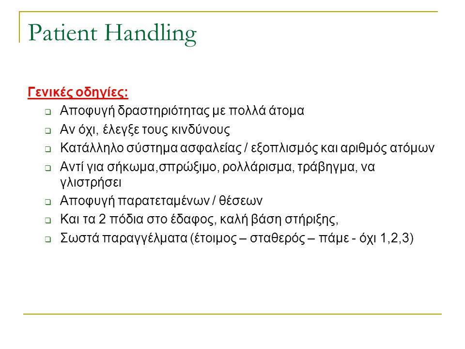 Patient Handling Γενικές οδηγίες:  Αποφυγή δραστηριότητας με πολλά άτομα  Αν όχι, έλεγξε τους κινδύνους  Κατάλληλο σύστημα ασφαλείας / εξοπλισμός κ