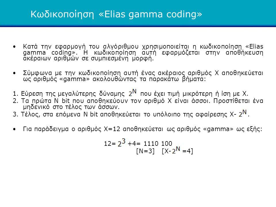Κωδικοποίηση «Elias gamma coding» •Κατά την εφαρμογή του αλγόριθμου χρησιμοποιείται η κωδικοποίηση «Elias gamma coding». Η κωδικοποίηση αυτή εφαρμόζετ