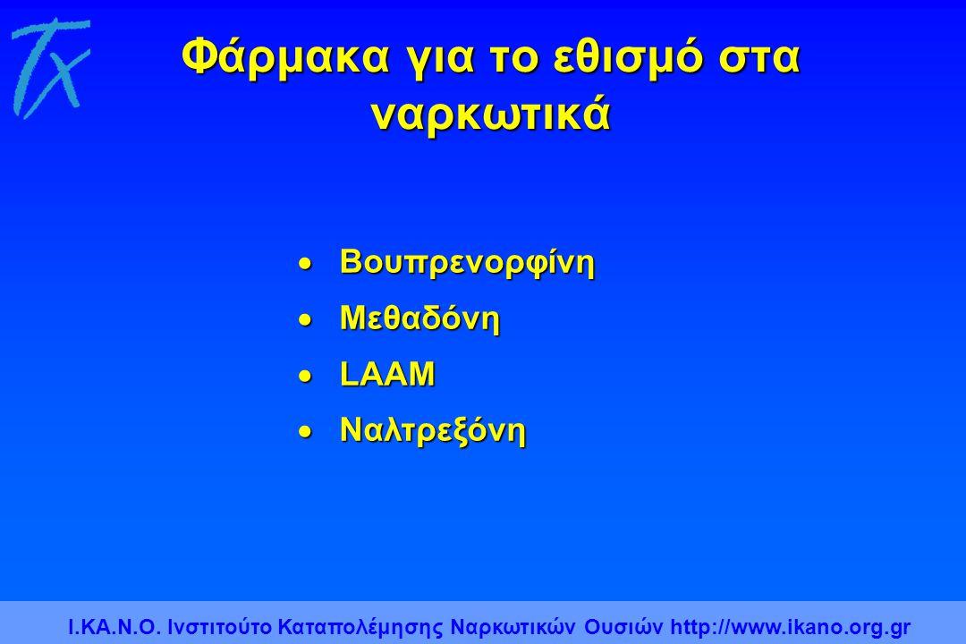 Φάρμακα για το εθισμό στα ναρκωτικά  Βουπρενορφίνη  Μεθαδόνη  LAAM  Ναλτρεξόνη Ι.ΚΑ.Ν.Ο. Ινστιτούτο Καταπολέμησης Ναρκωτικών Ουσιών http://www.ika