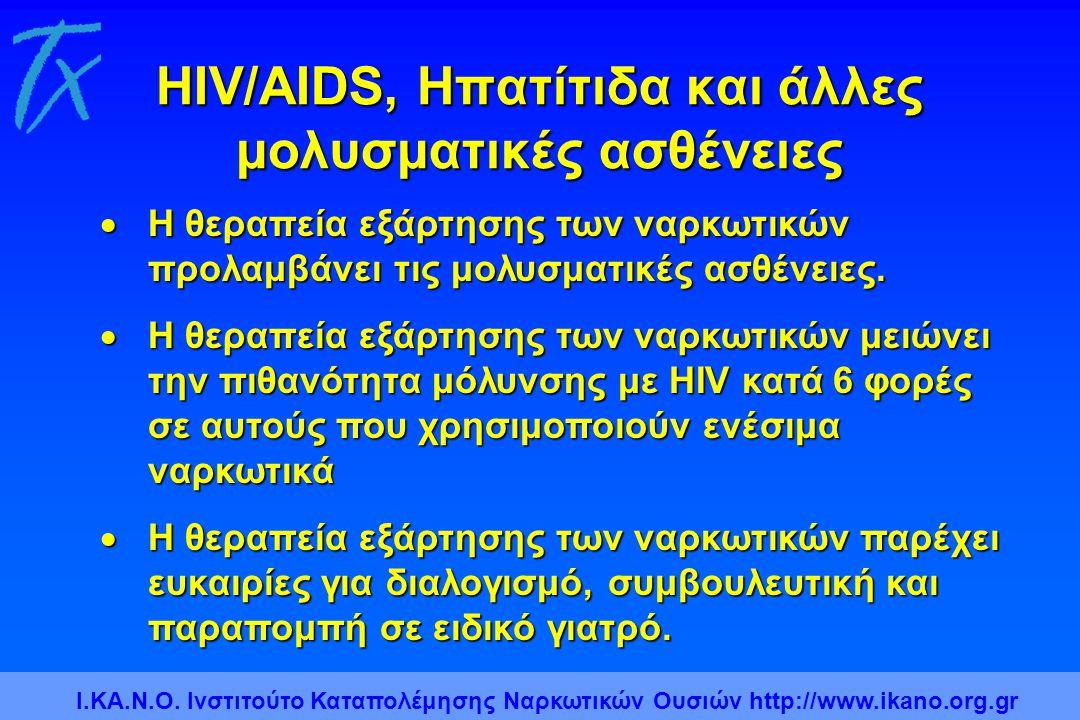 HIV/AIDS, Ηπατίτιδα και άλλες μολυσματικές ασθένειες  Η θεραπεία εξάρτησης των ναρκωτικών προλαμβάνει τις μολυσματικές ασθένειες.