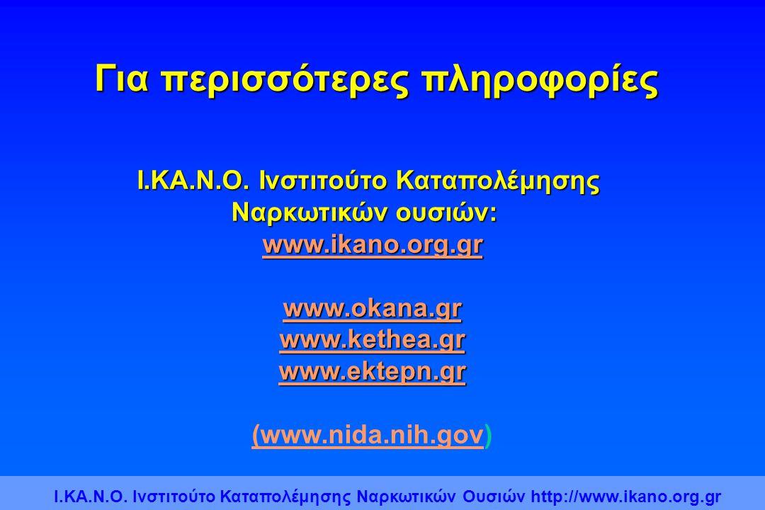 Για περισσότερες πληροφορίες Ι.ΚΑ.Ν.Ο. Ινστιτούτο Καταπολέμησης Ναρκωτικών ουσιών: www.ikano.org.gr www.okana.gr www.kethea.gr www.ektepn.gr (www.nida