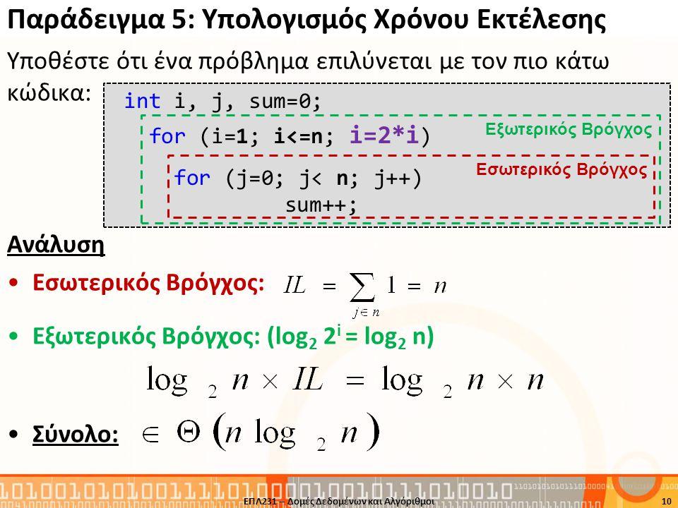Παράδειγμα 5: Υπολογισμός Χρόνου Εκτέλεσης Υποθέστε ότι ένα πρόβλημα επιλύνεται με τον πιο κάτω κώδικα: Ανάλυση •Εσωτερικός Βρόγχος: •Εξωτερικός Βρόγχ