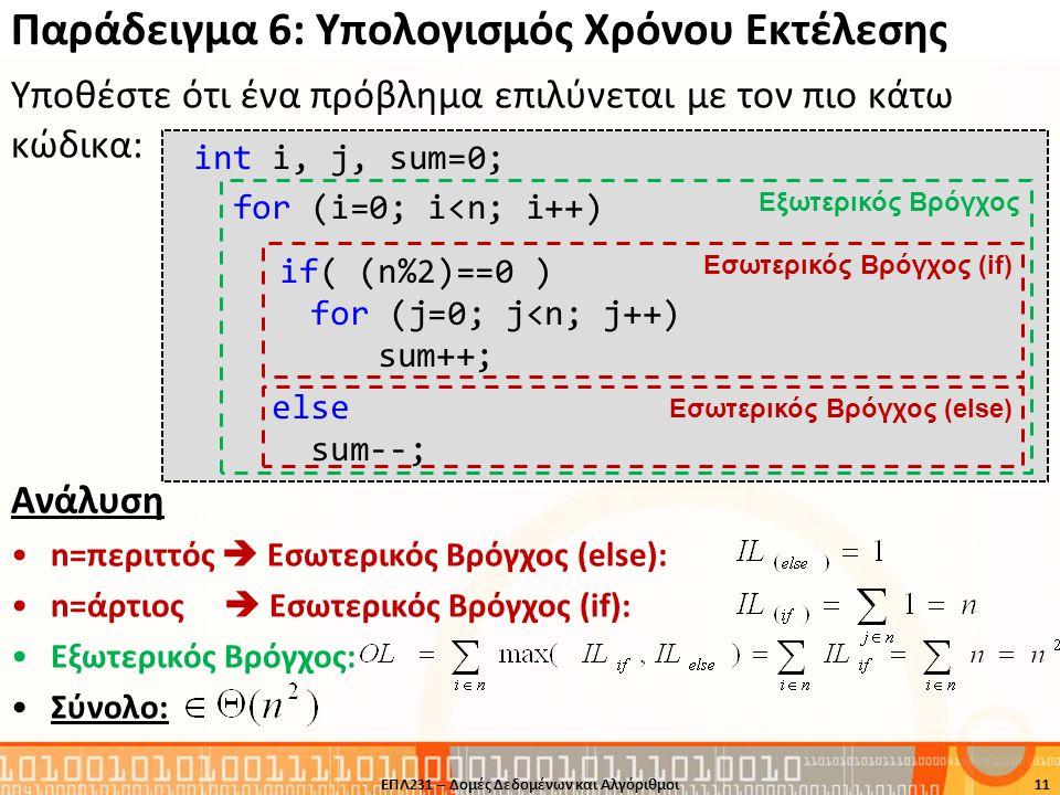 Παράδειγμα 6: Υπολογισμός Χρόνου Εκτέλεσης Υποθέστε ότι ένα πρόβλημα επιλύνεται με τον πιο κάτω κώδικα: Ανάλυση •n=περιττός  Εσωτερικός Βρόγχος (else