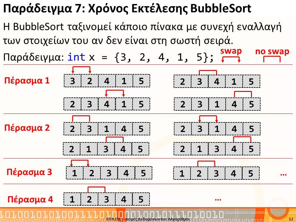 Παράδειγμα 7: Χρόνος Εκτέλεσης BubbleSort Η BubbleSort ταξινομεί κάποιο πίνακα με συνεχή εναλλαγή των στοιχείων του αν δεν είναι στη σωστή σειρά. Παρά