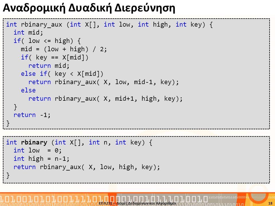 Αναδρομική Δυαδική Διερεύνηση 18 int rbinary_aux (int X[], int low, int high, int key) { int mid; if( low <= high) { mid = (low + high) / 2; if( key =