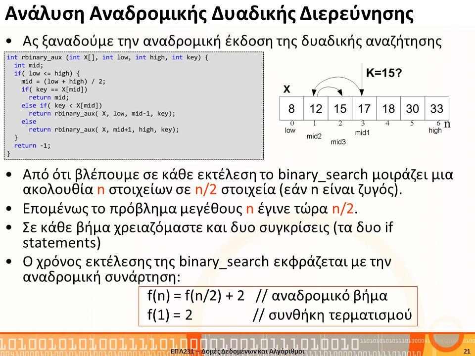 Ανάλυση Αναδρομικής Δυαδικής Διερεύνησης •Ας ξαναδούμε την αναδρομική έκδοση της δυαδικής αναζήτησης •Από ότι βλέπουμε σε κάθε εκτέλεση το binary_sear