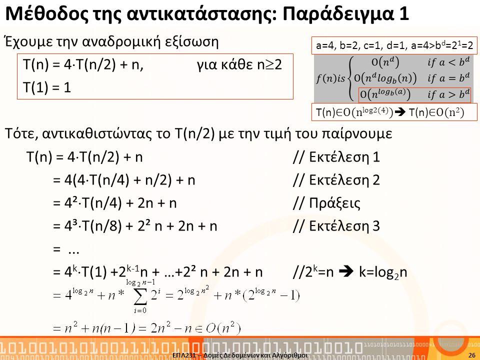Μέθοδος της αντικατάστασης: Παράδειγμα 1 Έχουμε την αναδρομική εξίσωση Τ(n) = 4  T(n/2) + n,για κάθε n  2 T(1) = 1 Τότε, αντικαθιστώντας το Τ(n/2) μ