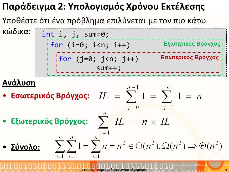 Παράδειγμα 3: Υπολογισμός Χρόνου Εκτέλεσης Υποθέστε ότι ένα πρόβλημα επιλύνεται με τον πιο κάτω κώδικα: Ανάλυση •Εσωτερικός Βρόγχος: •Παρατηρούμε ότι ο χρόνος εκτέλεσης του εσωτερικού βρόχου εξαρτάται από την τιμή i, οποία καθορίζεται από τον εξωτερικό βρόχο.