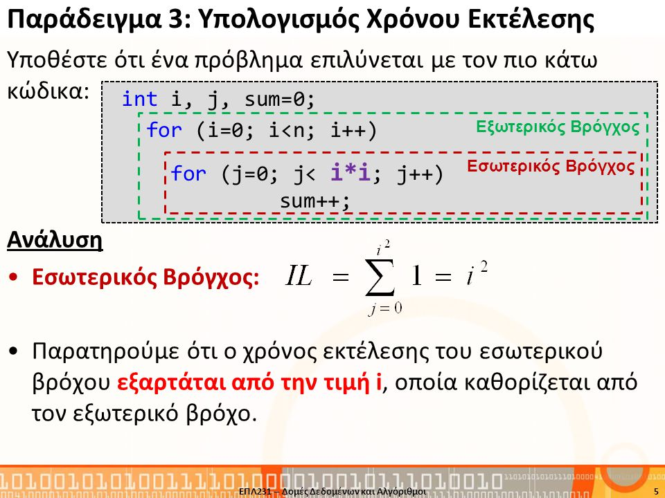 Παράδειγμα 3: Υπολογισμός Χρόνου Εκτέλεσης Υποθέστε ότι ένα πρόβλημα επιλύνεται με τον πιο κάτω κώδικα: Ανάλυση •Εσωτερικός Βρόγχος: •Παρατηρούμε ότι