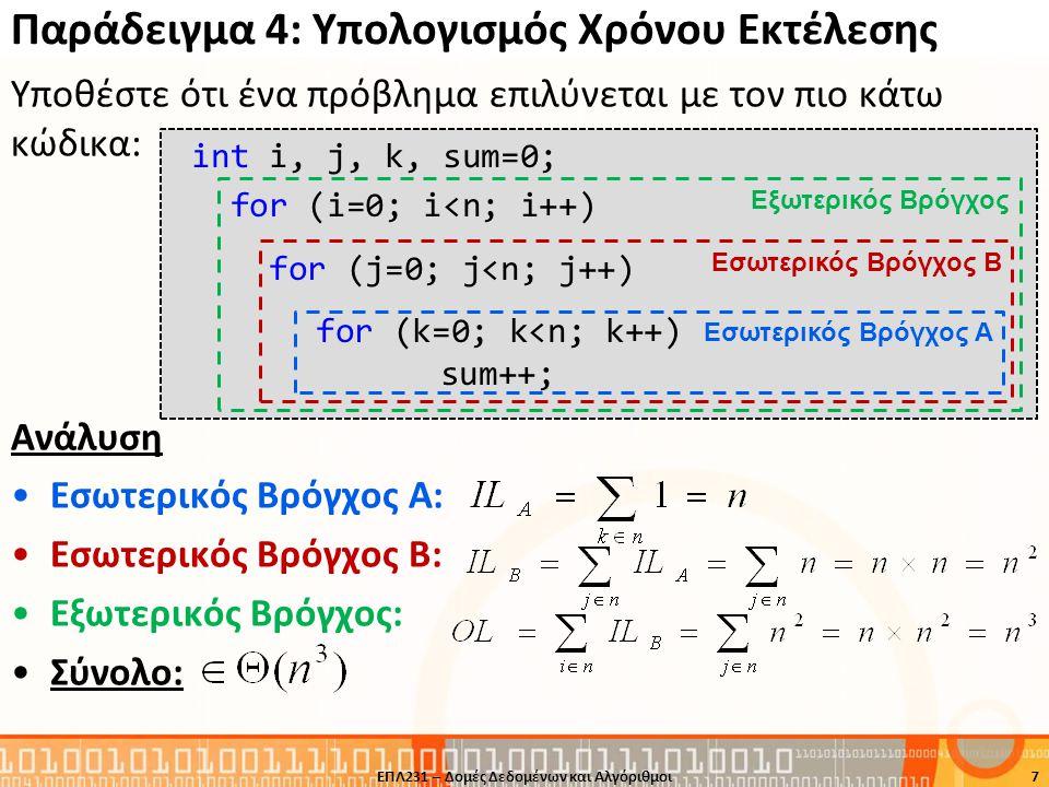 Αναδρομική Δυαδική Διερεύνηση 18 int rbinary_aux (int X[], int low, int high, int key) { int mid; if( low <= high) { mid = (low + high) / 2; if( key == X[mid]) return mid; else if( key < X[mid]) return rbinary_aux( X, low, mid-1, key); else return rbinary_aux( X, mid+1, high, key); } return -1; } int rbinary (int X[], int n, int key) { int low = 0; int high = n-1; return rbinary_aux( X, low, high, key); } ΕΠΛ231 – Δομές Δεδομένων και Αλγόριθμοι
