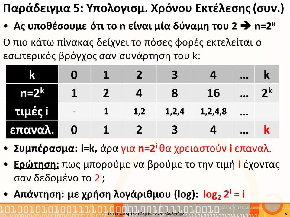 Παράδειγμα 5: Υπολογισμός Χρόνου Εκτέλεσης Υποθέστε ότι ένα πρόβλημα επιλύνεται με τον πιο κάτω κώδικα: Ανάλυση •Εσωτερικός Βρόγχος: •Εξωτερικός Βρόγχος: (log 2 2 i = log 2 n) •Σύνολο: 10 int i, j, sum=0; for (i=1; i<=n; i=2*i ) for (j=0; j< n; j++) sum++; Εξωτερικός Βρόγχος Εσωτερικός Βρόγχος ΕΠΛ231 – Δομές Δεδομένων και Αλγόριθμοι