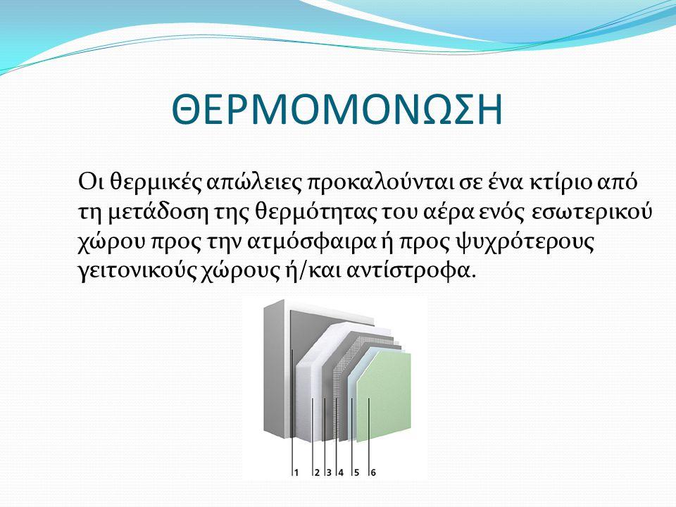 ΘΕΡΜΟΜΟΝΩΣΗ Οι θερμικές απώλειες προκαλούνται σε ένα κτίριο από τη μετάδοση της θερμότητας του αέρα ενός εσωτερικού χώρου προς την ατμόσφαιρα ή προς ψ