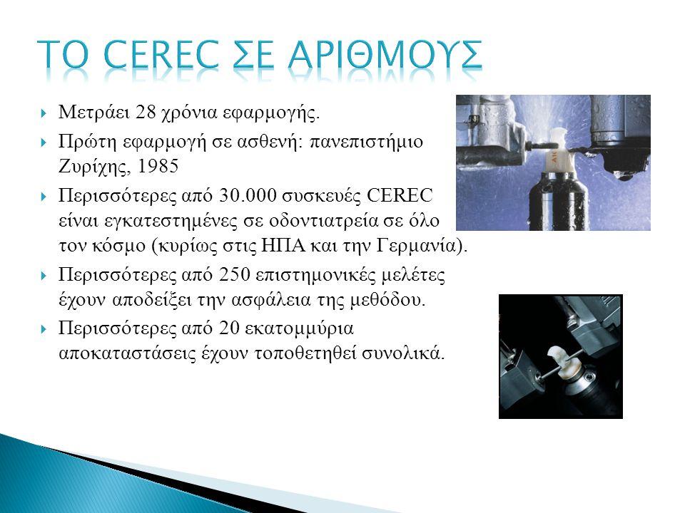  Μετράει 28 χρόνια εφαρμογής.  Πρώτη εφαρμογή σε ασθενή: πανεπιστήμιο Ζυρίχης, 1985  Περισσότερες από 30.000 συσκευές CEREC είναι εγκατεστημένες σε