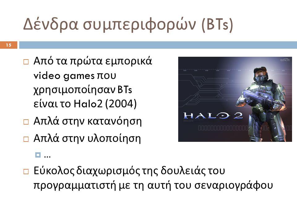 Δένδρα συμπεριφορών (BTs) 15  Από τα πρώτα εμπορικά video games που χρησιμοποίησαν BTs είναι το Halo2 (2004)  Απλά στην κατανόηση  Απλά στην υλοποίηση  …  Εύκολος διαχωρισμός της δουλειάς του προγραμματιστή με τη αυτή του σεναριογράφου
