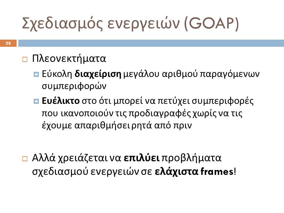 Σχεδιασμός ενεργειών (GOAP) 28  Πλεονεκτήματα  Εύκολη διαχείριση μεγάλου αριθμού παραγόμενων συμπεριφορών  Ευέλικτο στο ότι μπορεί να πετύχει συμπεριφορές που ικανοποιούν τις προδιαγραφές χωρίς να τις έχουμε απαριθμήσει ρητά από πριν  Αλλά χρειάζεται να επιλύει προβλήματα σχεδιασμού ενεργειών σε ελάχιστα frames!