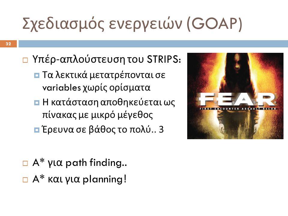 Σχεδιασμός ενεργειών (GOAP) 32  Υπέρ - απλούστευση του STRIPS:  Τα λεκτικά μετατρέπονται σε variables χωρίς ορίσματα  Η κατάσταση αποθηκεύεται ως π