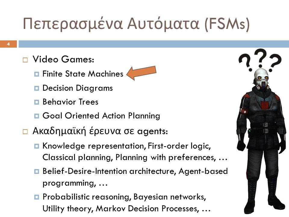 Πεπερασμένα Αυτόματα (FSMs) 4  Video Games:  Finite State Machines  Decision Diagrams  Behavior Trees  Goal Oriented Action Planning  Ακαδημαϊκή