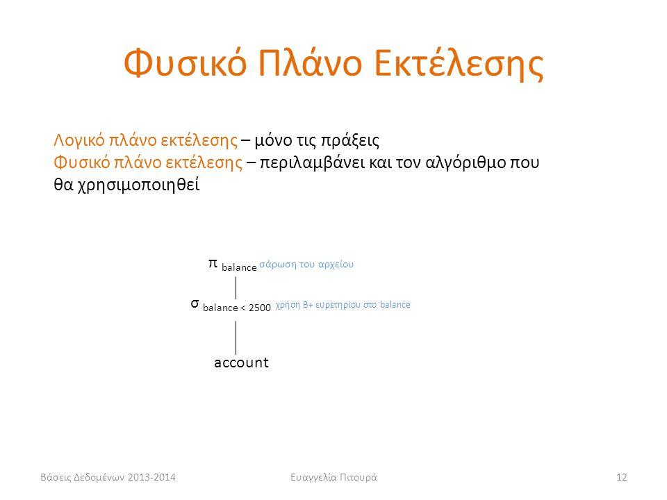 Βάσεις Δεδομένων 2013-2014Ευαγγελία Πιτουρά12 π balance σάρωση του αρχείου σ balance < 2500 χρήση Β+ ευρετηρίου στο balance account Φυσικό Πλάνο Εκτέλεσης Λογικό πλάνο εκτέλεσης – μόνο τις πράξεις Φυσικό πλάνο εκτέλεσης – περιλαμβάνει και τον αλγόριθμο που θα χρησιμοποιηθεί