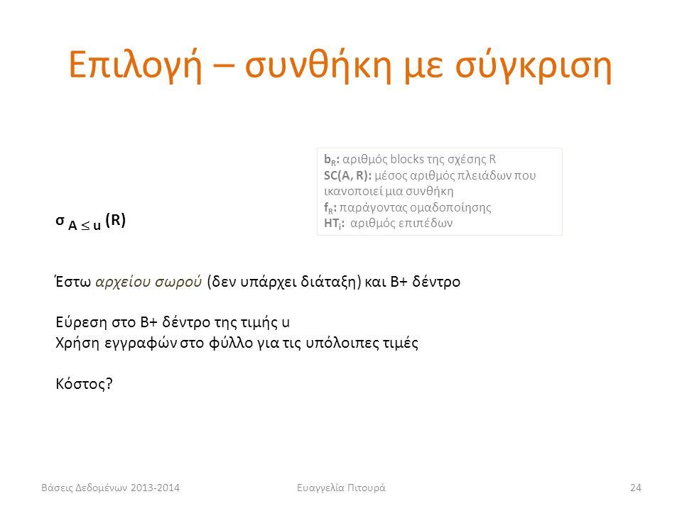 Βάσεις Δεδομένων 2013-2014Ευαγγελία Πιτουρά24 σ Α  u (R) Έστω αρχείου σωρού (δεν υπάρχει διάταξη) και Β+ δέντρο Εύρεση στο Β+ δέντρο της τιμής u Χρήσ