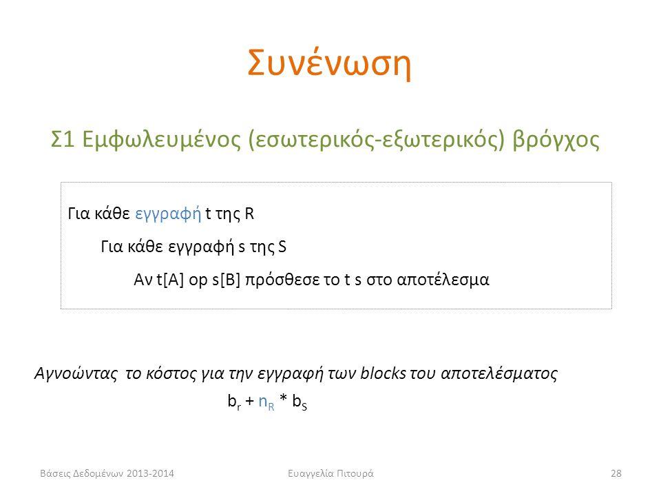 Βάσεις Δεδομένων 2013-2014Ευαγγελία Πιτουρά28 Σ1 Εμφωλευμένος (εσωτερικός-εξωτερικός) βρόγχος Για κάθε εγγραφή t της R Για κάθε εγγραφή s της S Αν t[A] op s[B] πρόσθεσε το t s στο αποτέλεσμα b r + n R * b S Αγνοώντας το κόστος για την εγγραφή των blocks του αποτελέσματος Συνένωση