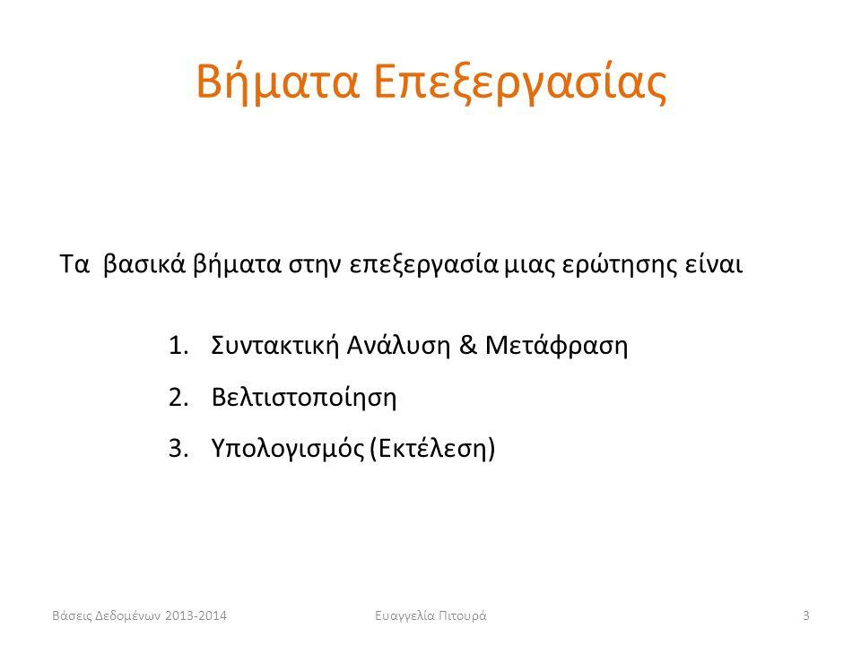 Βάσεις Δεδομένων 2013-2014Ευαγγελία Πιτουρά3 1.Συντακτική Ανάλυση & Μετάφραση 2.Βελτιστοποίηση 3.Υπολογισμός (Εκτέλεση) Τα βασικά βήματα στην επεξεργασία μιας ερώτησης είναι Βήματα Επεξεργασίας