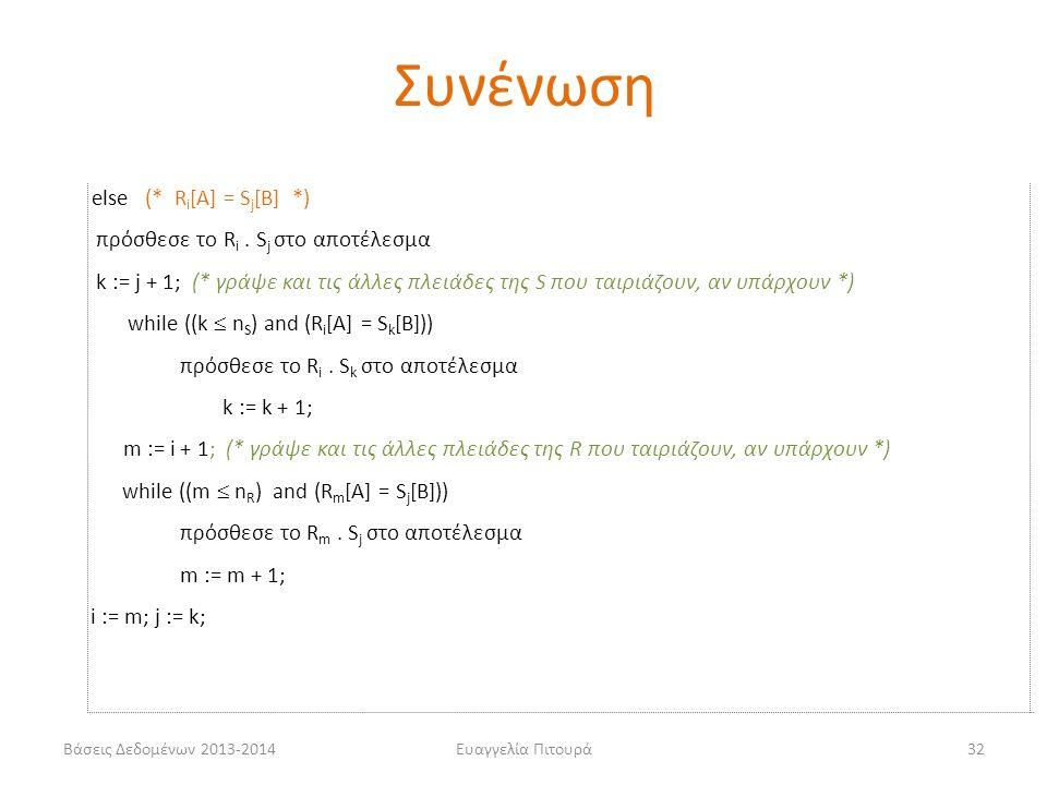 Βάσεις Δεδομένων 2013-2014Ευαγγελία Πιτουρά32 else (* R i [A] = S j [B] *) πρόσθεσε το R i. S j στο αποτέλεσμα k := j + 1; (* γράψε και τις άλλες πλει