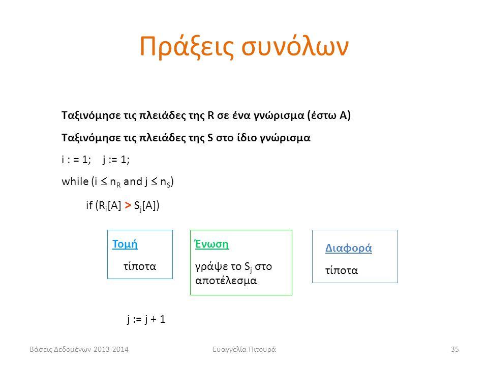 Βάσεις Δεδομένων 2013-2014Ευαγγελία Πιτουρά35 Ταξινόμησε τις πλειάδες της R σε ένα γνώρισμα (έστω Α) Ταξινόμησε τις πλειάδες της S στο ίδιο γνώρισμα i : = 1; j := 1; while (i  n R and j  n S ) if (R i [A] > S j [Α]) Τομή τίποτα Ένωση γράψε το S j στο αποτέλεσμα Διαφορά τίποτα j := j + 1 Πράξεις συνόλων