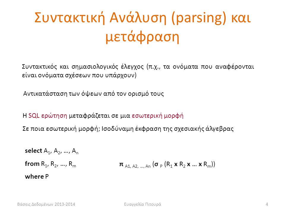 Βάσεις Δεδομένων 2013-2014Ευαγγελία Πιτουρά4 Συντακτικός και σημασιολογικός έλεγχος (π.χ., τα ονόματα που αναφέρονται είναι ονόματα σχέσεων που υπάρχο