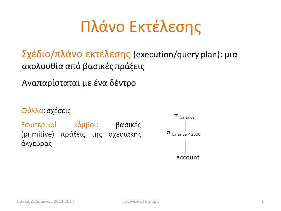 Βάσεις Δεδομένων 2013-2014Ευαγγελία Πιτουρά6 Σχέδιο/πλάνο εκτέλεσης (execution/query plan): μια ακολουθία από βασικές πράξεις Αναπαρίσταται με ένα δέντρο π balance σ balance < 2500 account Πλάνο Εκτέλεσης Φύλλα: σχέσεις Εσωτερικοί κόμβοι: βασικές (primitive) πράξεις της σχεσιακής άλγεβρας