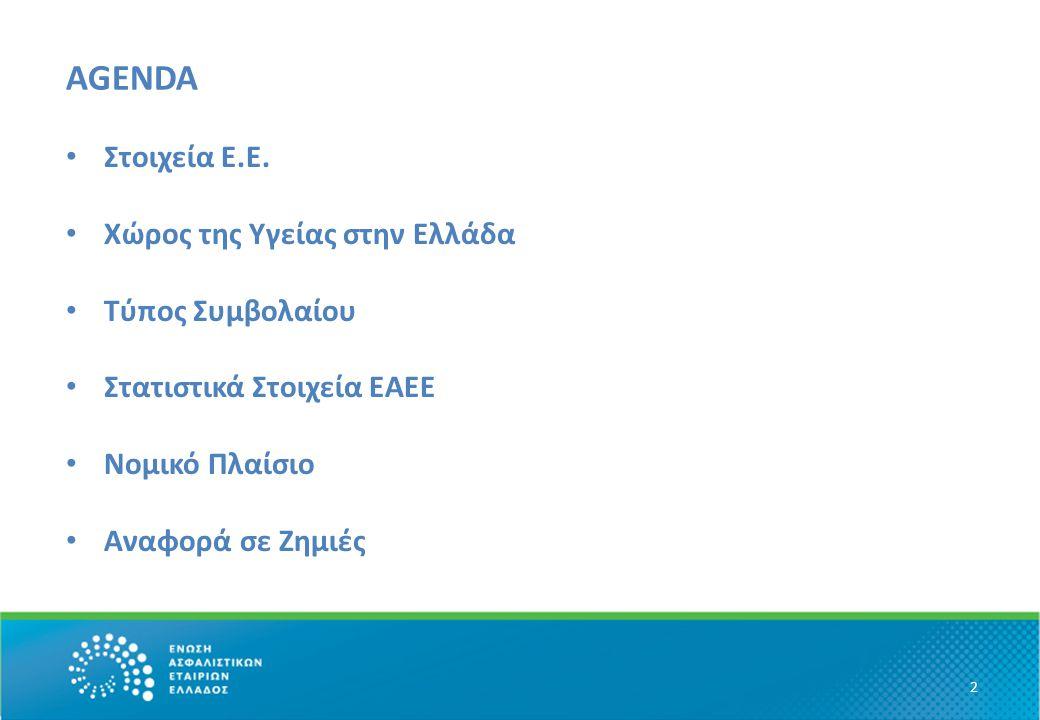 AGENDA • ΕΕΙΔΙΚΟΤΗΤΑΓΕΝΙΚΟ ΣΥΝΟΛΟΙΔΙΚΟΤΗΤΑΓΕΝΙΚΟ ΣΥΝΟΛΟ 2 • Στοιχεία Ε.Ε. • Χώρος της Υγείας στην Ελλάδα • Τύπος Συμβολαίου • Στατιστικά Στοιχεία ΕΑΕΕ