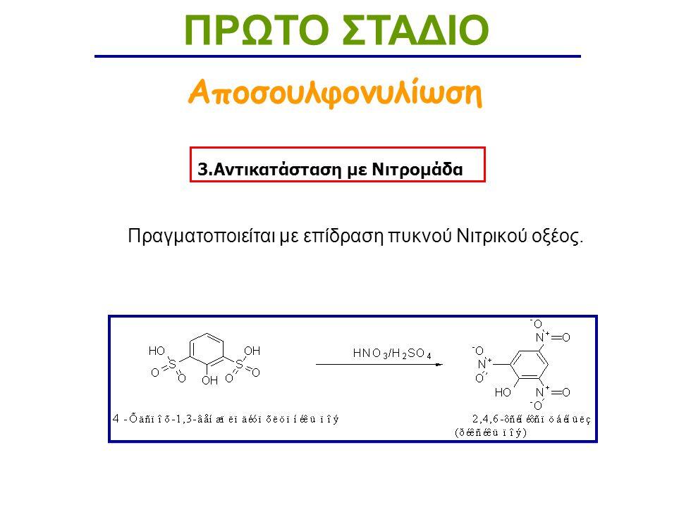 3.Αντικατάσταση με Νιτρομάδα ΠΡΩΤΟ ΣΤΑΔΙΟ Αποσουλφονυλίωση Πραγματοποιείται με επίδραση πυκνού Νιτρικού οξέος.
