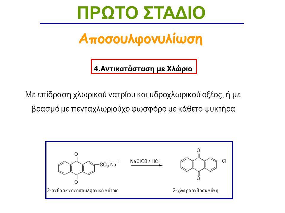 4.Αντικατάσταση με Χλώριο ΠΡΩΤΟ ΣΤΑΔΙΟ Αποσουλφονυλίωση Με επίδραση χλωρικού νατρίου και υδροχλωρικού οξέος, ή με βρασμό με πενταχλωριούχο φωσφόρο με κάθετο ψυκτήρα