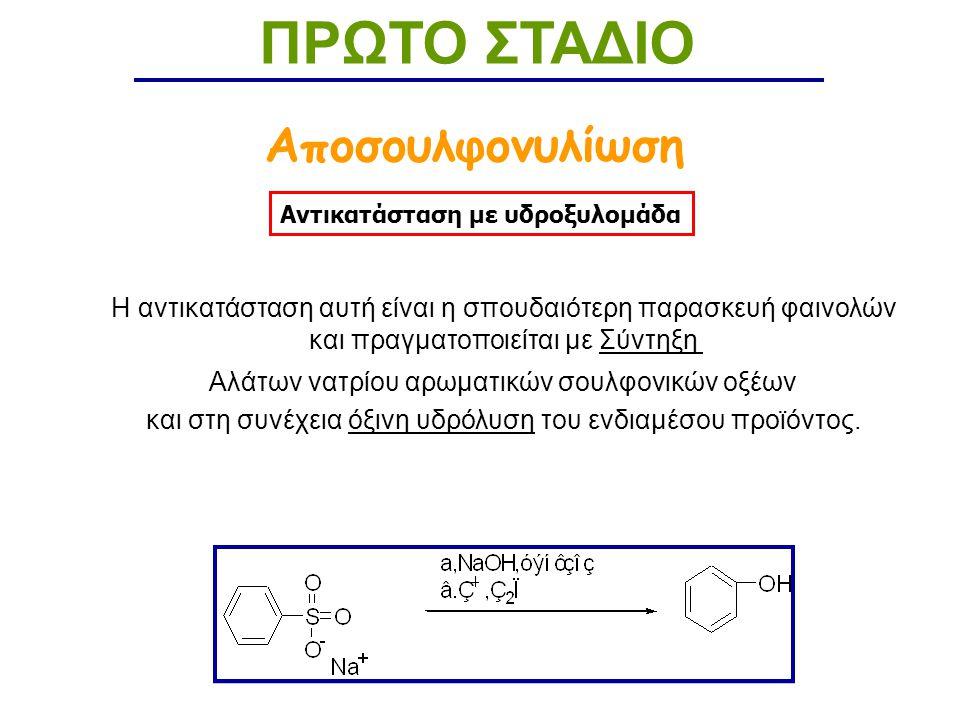 Αντικατάσταση με υδροξυλομάδα ΠΡΩΤΟ ΣΤΑΔΙΟ Αποσουλφονυλίωση Η αντικατάσταση αυτή είναι η σπουδαιότερη παρασκευή φαινολών και πραγματοποιείται με Σύντηξη Αλάτων νατρίου αρωματικών σουλφονικών οξέων και στη συνέχεια όξινη υδρόλυση του ενδιαμέσου προϊόντος.