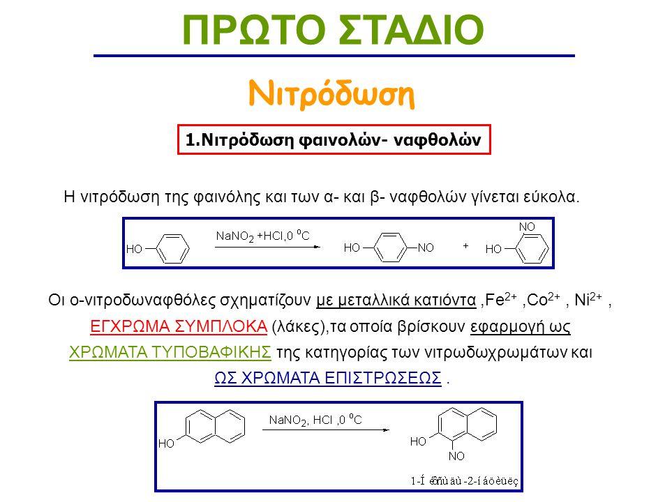 1.Νιτρόδωση φαινολών- ναφθολών Νιτρόδωση ΠΡΩΤΟ ΣΤΑΔΙΟ Η νιτρόδωση της φαινόλης και των α- και β- ναφθολών γίνεται εύκολα.